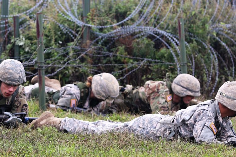 Ranger Challenge Cadets low crawl under barbed wire
