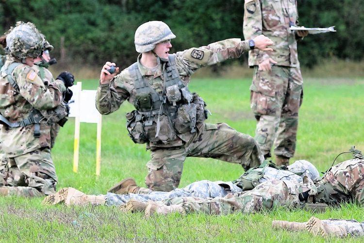 Ranger Challenge Cadet throws a grenade