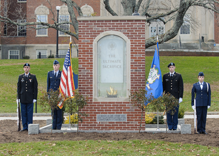 Student Veterans, ROTC, and the general public attend the Veterans Day event on Memorial Field