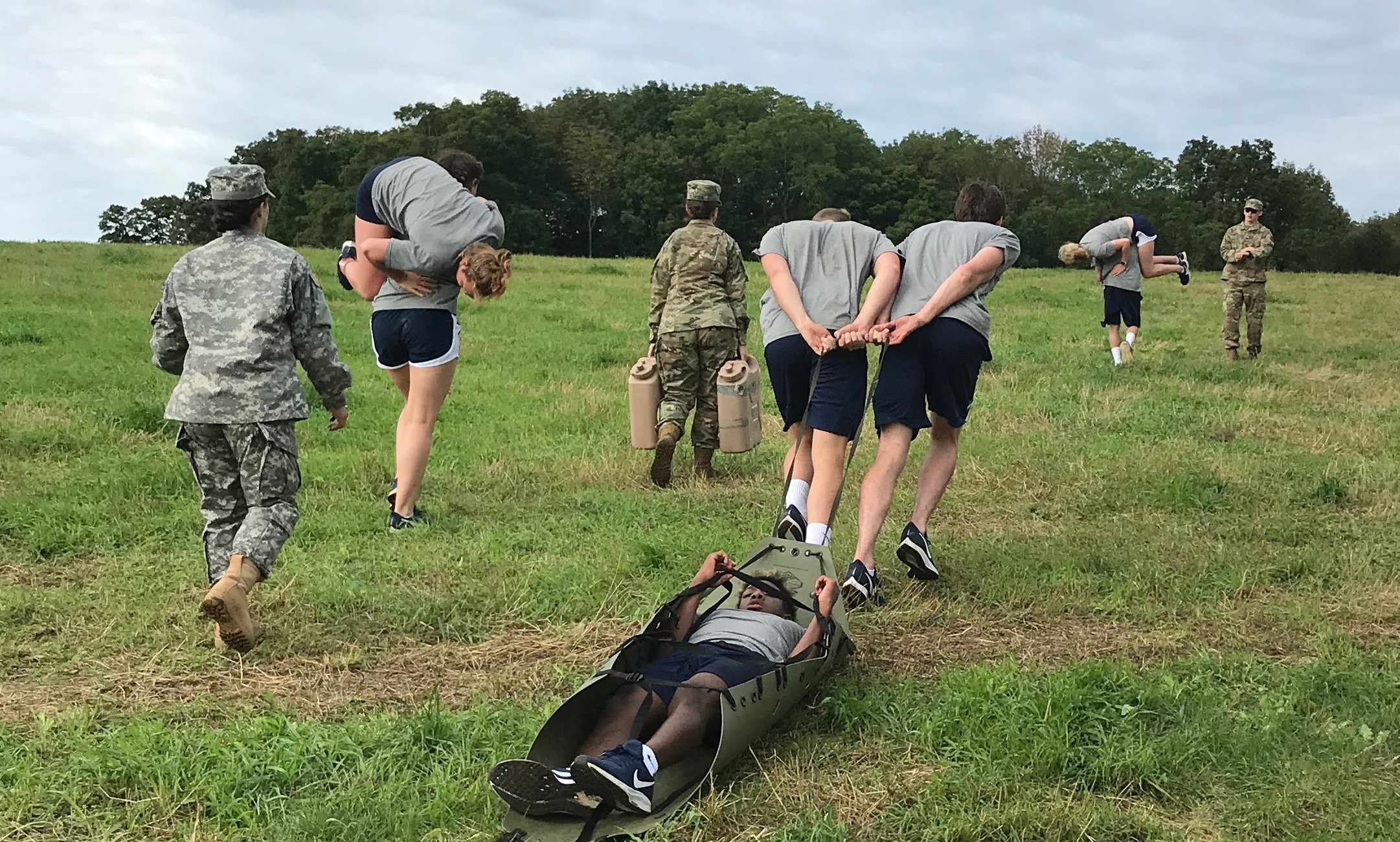 UConn Swim Team execute a casualty evactuation (CASEVAC) exercise