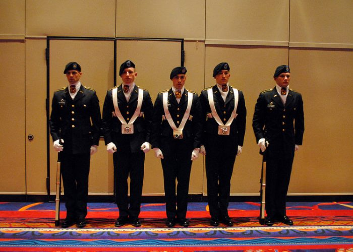 The Army ROTC Color Guard at attention