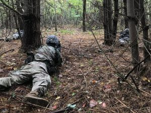Cadets prone in security during Fall 2018 Field Training Exercise