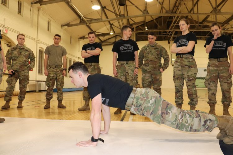Ranger Challenge cadet demonstrates proper push-up form