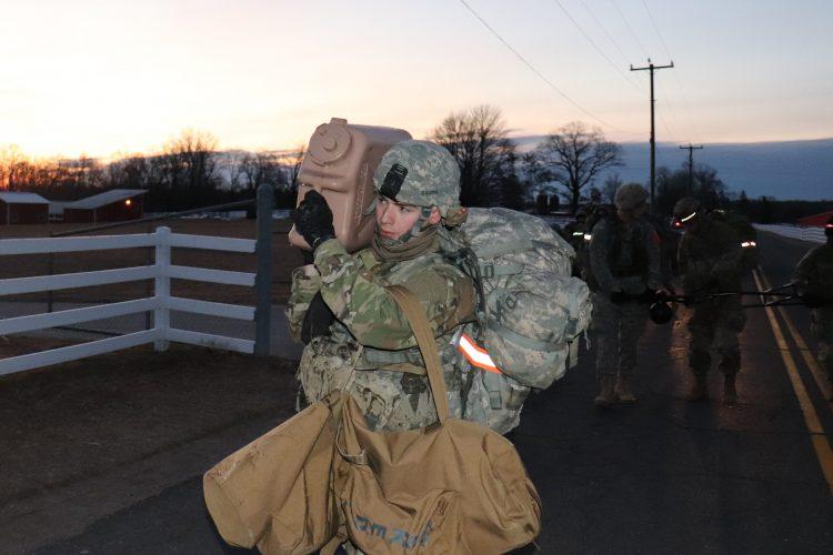 Cadet carries equipment during CASEVAC exercise