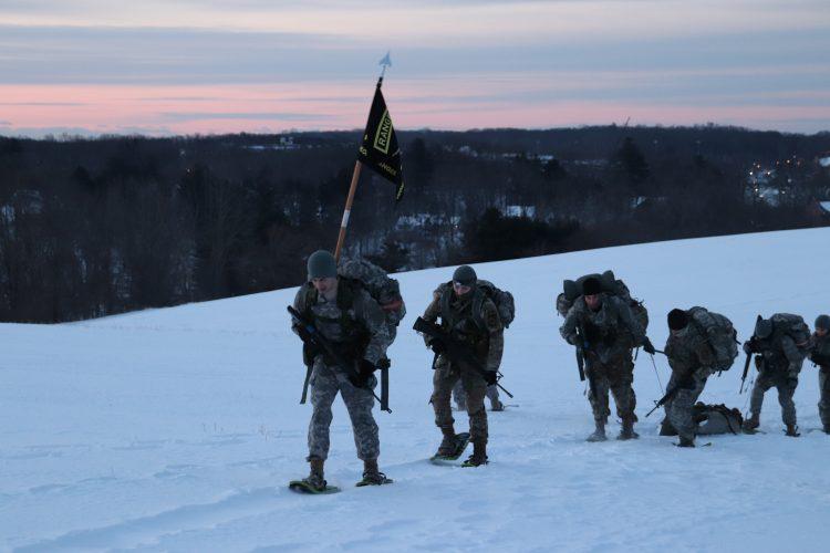 Ranger Challenge Cadets pull a SKEDCO up Horsebarn Hill