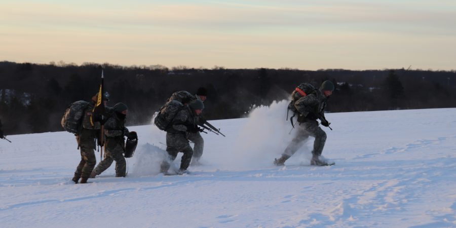 Ranger Challenge Cadets conduct a snowshoe CASEVAC