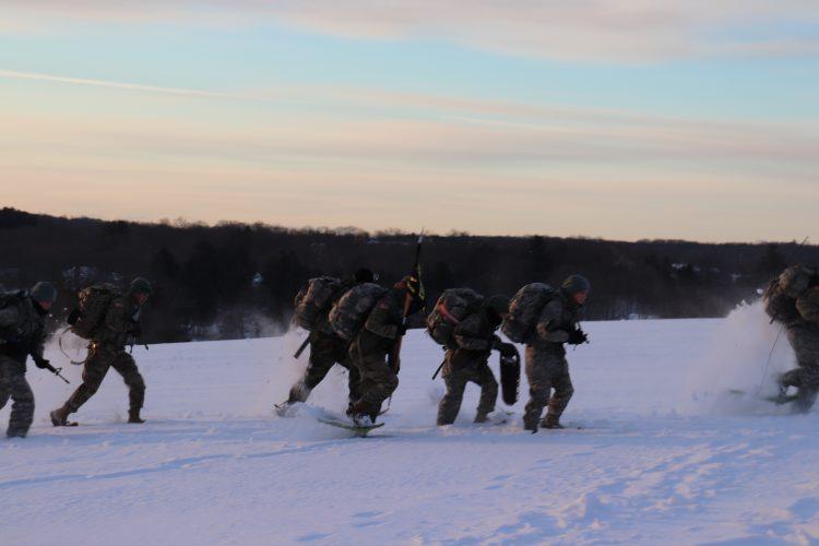Ranger challenge snow shoes at Horsebarn Hill