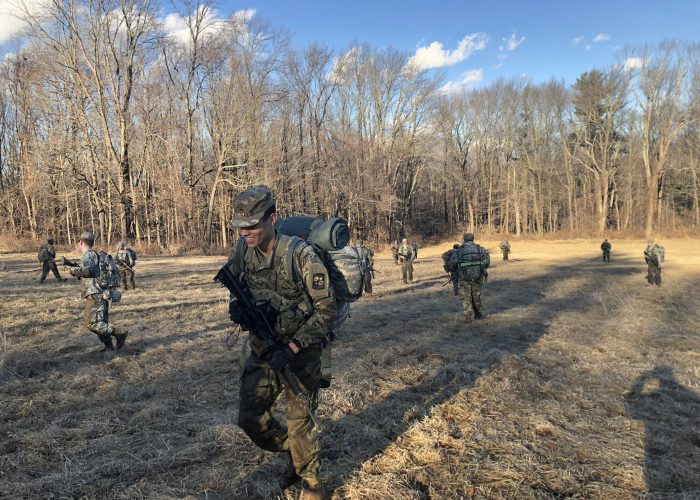 Cadets rehearse battle drills during Leadership Lab