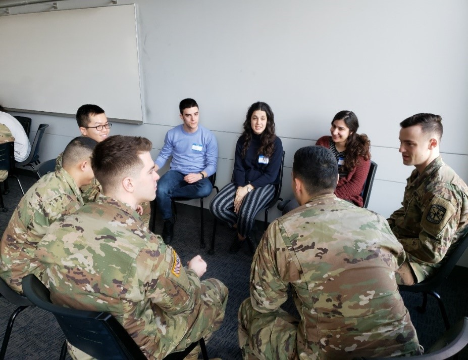 Discussion between ROTC Cadets and Emissary students