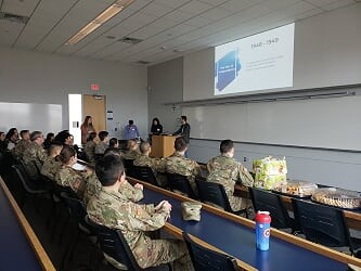 ROTC Cadets listen to presentation from Israeli Emissary on career of an Israeli Soldier