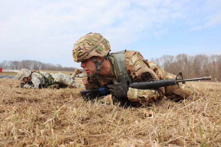 Cadets high-crawl on Horsebarn Hill