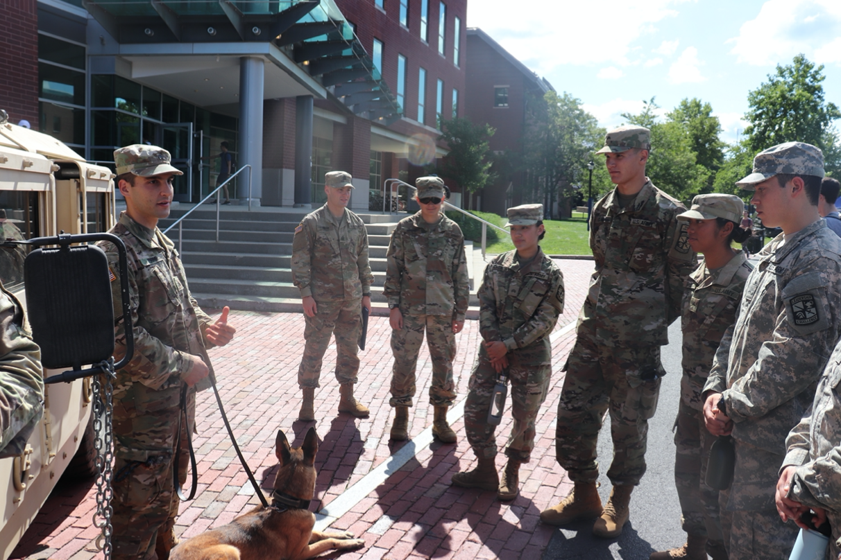 UConn Cadets with a military working dog