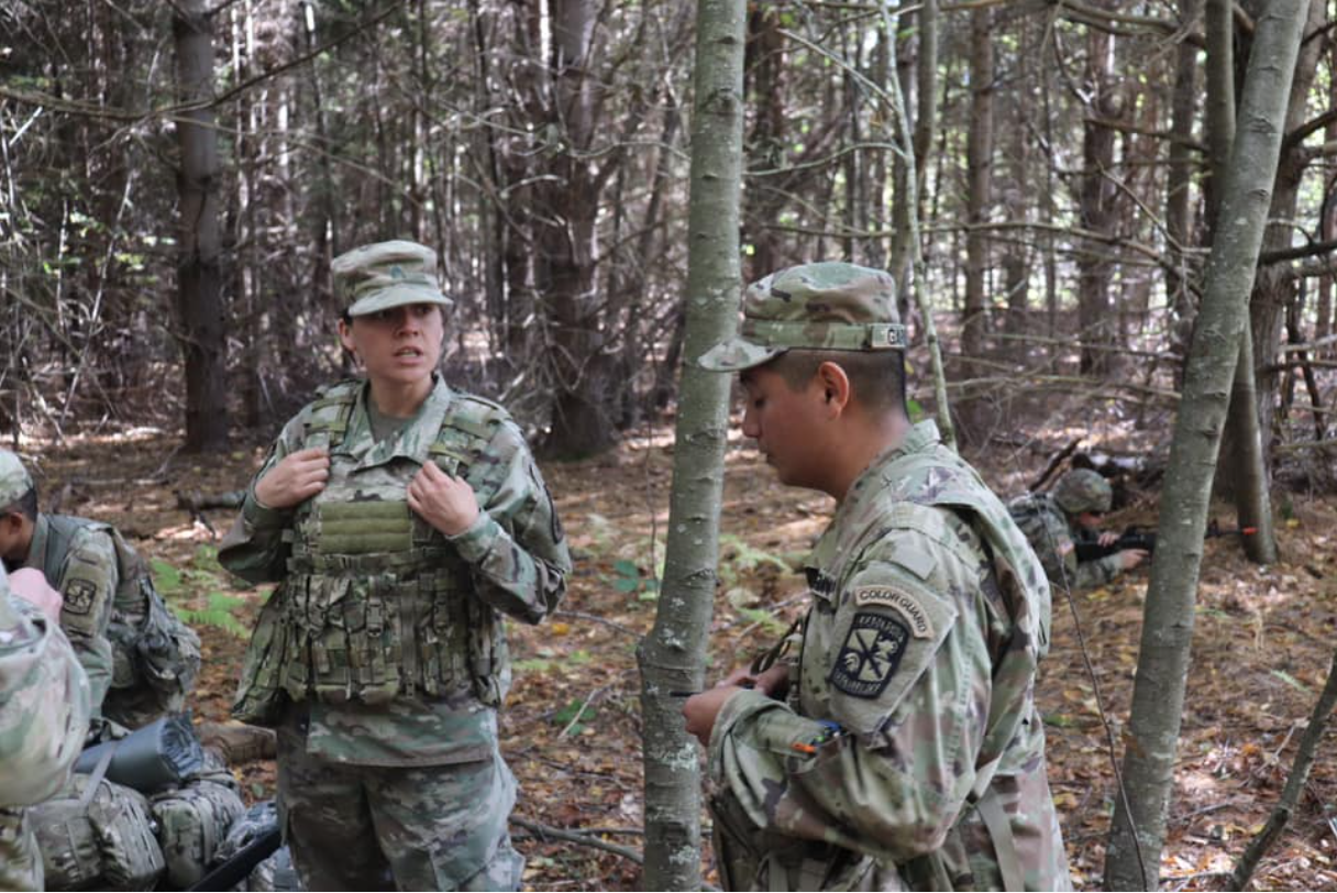 UConn Cadets talk with SFAB during a training exercise
