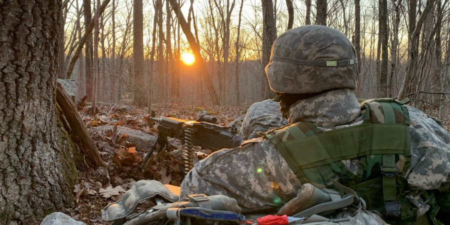 Cadet occupies a security position with an M240B during JFTX 2021