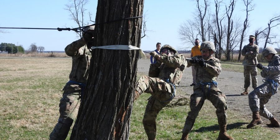 Cadets construct a one-rope bridge during the Brigade Ranger Challenge 2021 event