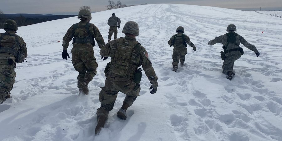 Cadets conduct tactical physical training in snowy conditions